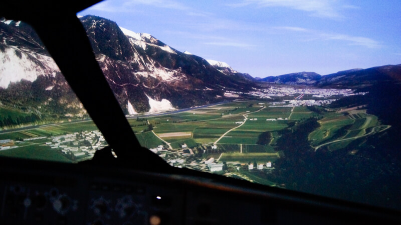 View from the Simulator cockpit in the vicinity of Salzburg airport in Switzerland