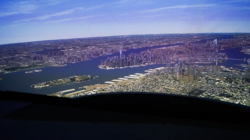 View from the Simulator cockpit on the Manhattan, New York